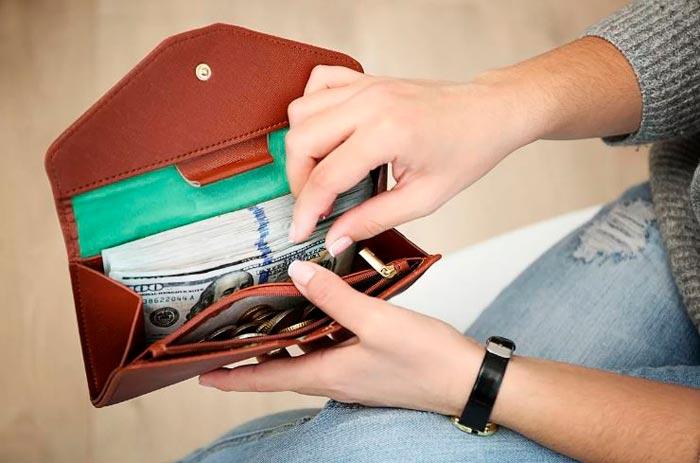 коричневый кошелек с деньгами