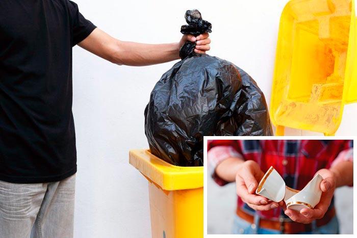 выбрасывает мусор